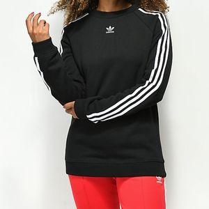 Adidas 3 Stripe Black Crew Neck Sweatshirt Trefoil